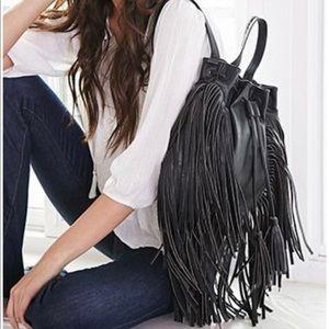 NWOT Forever 21 Faux Leather Fringe Backpack
